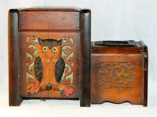 ~ Early 20thc WOOD ARTS & CRAFTS OWL SMOKE SET MUSIC BOX, German attr.  ~