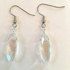 AURORA BOREALIS CLEAR CRYSTALS IN A DROP EARRING W/SURGICAL STEEL EAR WIRES #106