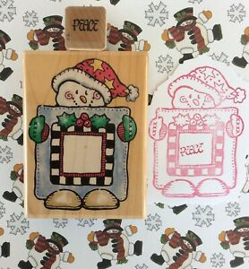 Penny Black Christmas Wood Mount Rubber Stamp USED Snowman Frame Up + TINY Peace