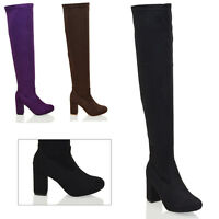 New Womens Over The Knee High Block Mid Heel Ladies Stretch Thigh High Boots 3-8