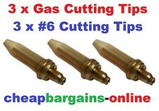 GAS WELDING CUTTING TIPS 3 TIPS #6 TYPE 41 QUALITY NOZZLES FOR OXY ACETYLENE SET