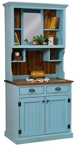 "Amish Country Primitive Hutch Distressed Painted Solid Wood 2-Piece 36""w x 78""h"