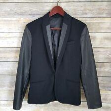 Zara Man Size S Blazer Jacket Black One Button Faux Vegan Leather Trim Mens Work