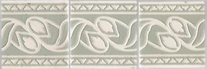 Grey & White leaves Villeroy & Boch set of 3 Art Nouveau tiles original antique