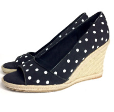 New Tommy Hilfiger Womens Black Dots Open Toe Wedge Heel Sandals Shoes 10 M #yl