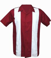 Rockabilly Fashions Retro Vintage Bowling 1950 1960 Men's Shirt  Red White