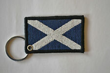 Scotland Flag Machine Embroidery Keyfob Embroidered Patch Key Chain Chrome Rings