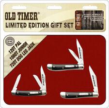 SCHOTP1726CPBR Schrade Old Timer 3 x Pocket Knife 2017 Limited Edition Set + Tin