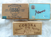 Vintage Lot Tobacco Tin Box Player's Sam'l J Davis y 1886 Cigar Corona Cig Tubes