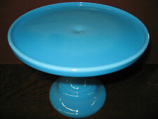 Blue milk Glass cake serving stand plate platter pedestal raised tray Bonnie art