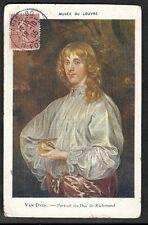 CPA FANTAISIE COULEUR Van Dick Portrait du Duc de Richmond MUSEE du LOUVRE 1905
