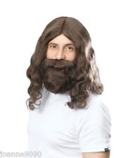 60s 70s Hippy Hippie or Jesus Prophet Brown Wig and Beard Costume Fancy Dress