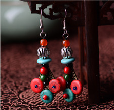 0202743 Traditional handmade jewelry Turquoise retro Bohemia style Hoop Earrings