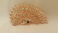 HAIR CLIP PEACOCK ROSE GOLD METAL WITH RHINESTONES FROM DUBAI