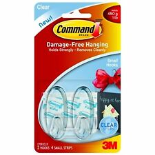 COMMAND 17092 Small Hooks & Strips. Pk2 Holds up to 1lb/450g - Clear/Transparent