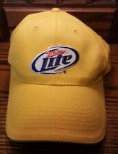 Miller Lite Beer Yellow Baseball Cap Trucker Strapback Hat Adjustable Velcro