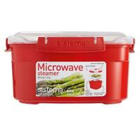 Sistema Microwave Medium Steamer with Removable Steamer Basket, 2.4L - Red/Clear