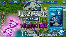 Jurassic WORLD The Game Builder 100,000 DNA + 10 AQUATIC PACKS Android iOS park