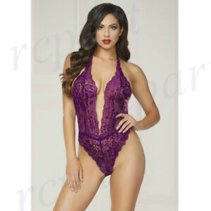 New Women sexy lingerie lace teddy Purple satin bow gift idea one size 9945P