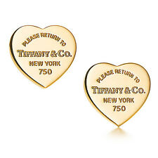 "Tiffany & Co. Heart Tag 18kt Yellow Gold ""Please Return To"" Earrings"