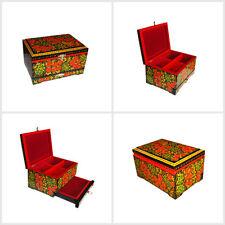 "Jewelry Box Casket Chest Khokhloma painting wooden jewellery bijouterie 7""x5""х4"""
