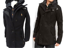 SUPERDRY Mens WOOL CAPITAL TRENCH £174rp Heavyweight Hooded JACKET Size S #4804