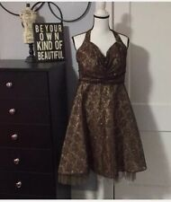 Brown gold Lace Halter Dress