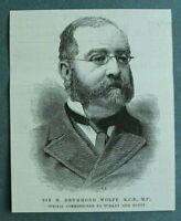 L1c) Holzstich Sir H Drummond Wolff 1885 Commissioner Türkei Ägypten 9x11cm