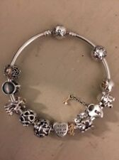 Pandora Bangle with 14k Gold, Silver, and Two Tone Charms