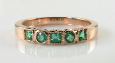 9K 9CT ROSE GOLD COLOMBIAN EMERALD ART DECO ETERNITY BAND ART DECO INS RING