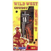 WILD WEST COWBOY GONHER DIE CAST METAL TOY GUN 8 SHOTS HOLSTER SET