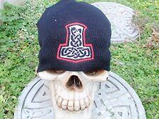 serpent celtic knot embroiderd beanie hat thors hammer asatru norse