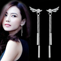 925 Sterling Silver Tassel Earrings Angel's Wings Style For Women Charm Jewelry