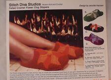 Felted Crochet Flower Clog Slippers - Stitch Diva Studios - 1 Crochet Pattern