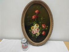 More details for vintage original signed floral still life oil painting 18.75