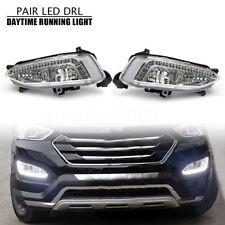 Pair LED DRL Daytime Running Fog Light For Hyundai IX45 Santa Fe 2013 2014 2015