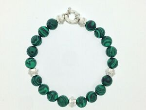 Natural Malachite Beads Bracelet in Solid 925 Sterling Silver