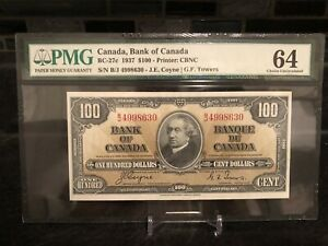 1937 Bank of Canada $100 Banknote PMG 64 CHOICE UNC
