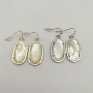 Kendra Scott Elle Pearl Drop Gold & Silver Tone Pendant Crystal Earrings