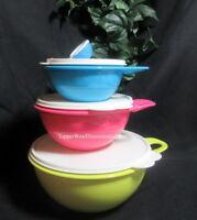 Tupperware New Thatsa Bowl Bowls 3 Piece Set 12,6 & 2.5 Capacity Green Pink Blue