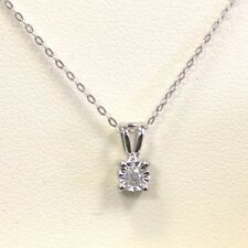 4 mm - 1/10 Carat - .10 Cts- Diamond Solitaire pendant in 9k white gold