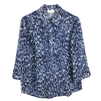 Chicos Size 1 Medium 8 Print Button Down Blouse Blue White 3/4 Sleeve Shirt Top