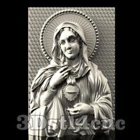 3D Model STL CNC Router Artcam Aspire Religion Virgin Mary Panel Cut3D Vcarve