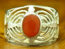 925 Silver Ring With Carnelian Decorations/Real Silver/Rg 56/0.2oz