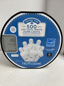 New Holiday Time 500 LED Cool White Dome Christmas Lights Storage Reel (2 x 250)