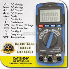 DIGITAL MULTIMETER TESTER + NON CONTACT VOLTAGE CAT III 600V + TEMPERATURE PROBE