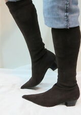 Sexy CAPARRINI FIRENZE Dark Brown Suede Pointed Toe Fashion Boots Italy 36.5 6 N