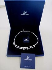 Swarovski Swan Signed Silver Tone Crystal High End Necklace w/ BOX COA TAG 604