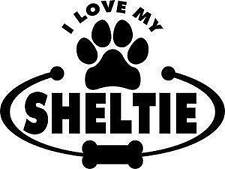I LOVE MY Sheltie Dog pet breed Vinyl Decal Car Truck Window wall Sticker