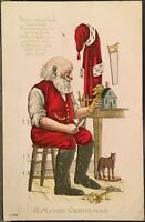 Santa Claus At Workbench Carving Toys~ Tools ~ Embossed Christmas Postcard Poem